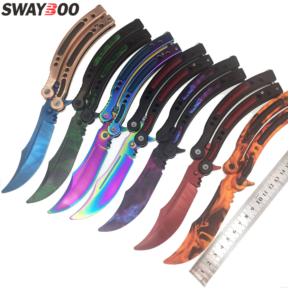 Swayboo CS GO Karambit Folding Knife Butterfly Fade Colorful Butterfly In Knife Doppler Training No Edge Howl Practice Tool