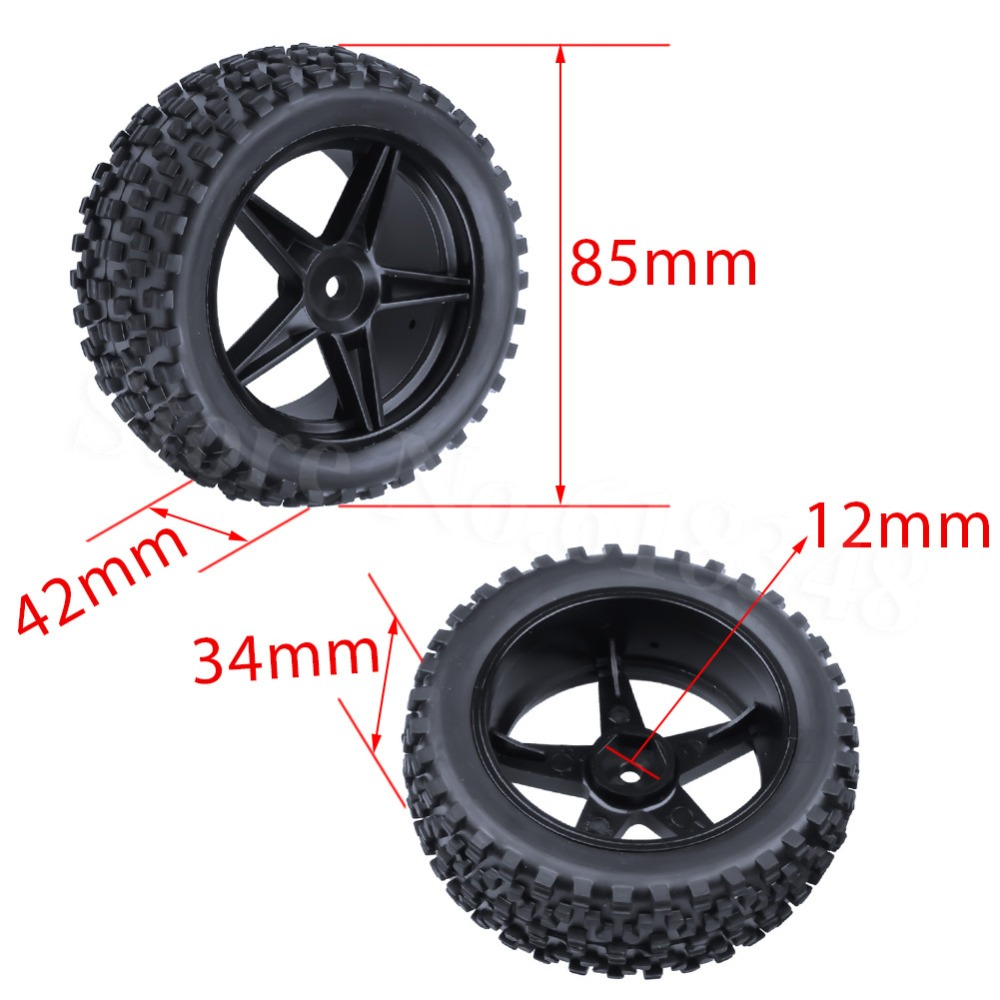 4Piece Front & Rear Buggy Tyres Wheels 12mm Hex For 1/10 RC Car Fit HSP STORMER 94105 Redcat Shockwave Nitro Buggy hsp 02024 differential diff gear complete 38t for 1 10 rc model car spare parts fit buggy monster
