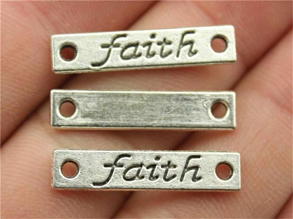 10 sztuk urok wiary w stylu Vintage antyczne srebro kolor słowo wiara urok wisiorki dla bransoletki wiara urok