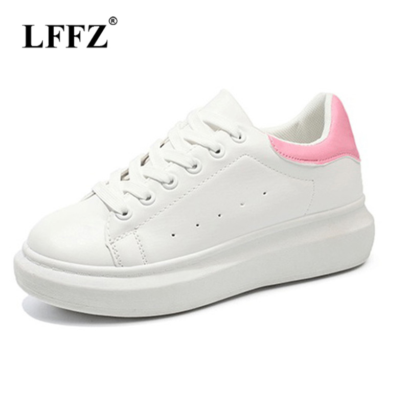 Lzzf 2018 Korean Fashion Casual Spring Womens Flat Platform Shoes White Sneakers Leather Tenis designer luxury 2017 Shoes Woman