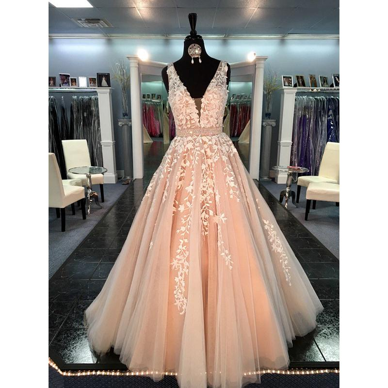 Linyixun Vestido De Fiesta 2018 Princess Champagne A Line Tulle Prom Dresses Deep V Neck Appliqued Women Evening Party Gowns