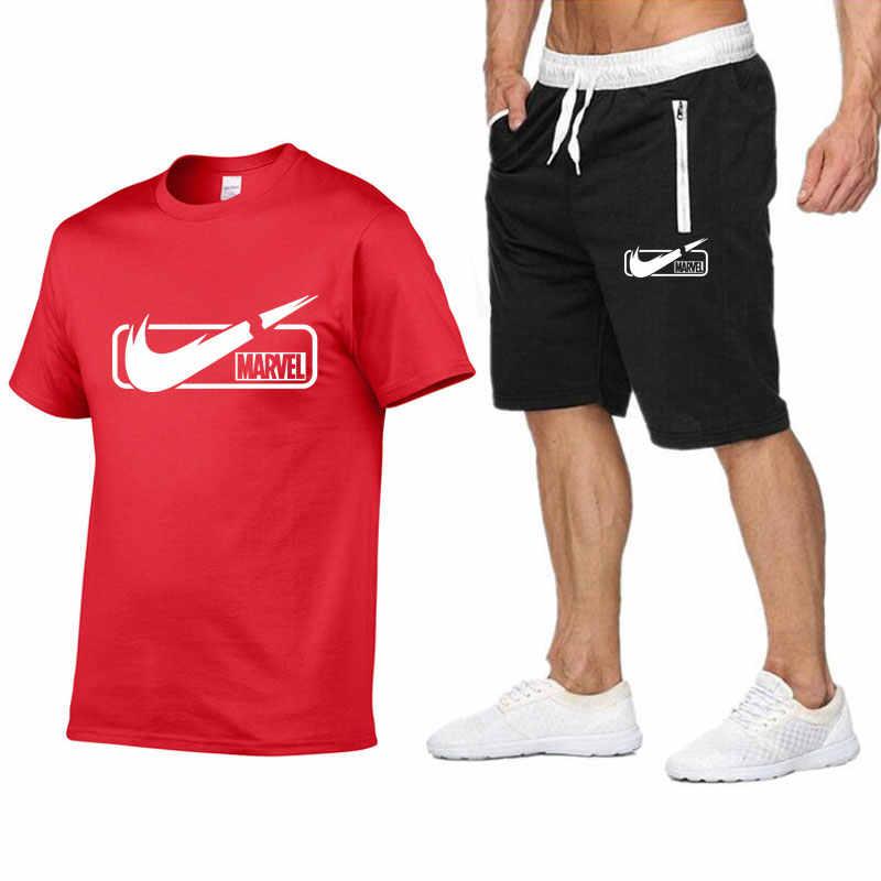 Новый модный спортивный костюм и футболка, комплект для мужчин s футболка шорты + мужские шорты летний спортивный костюм мужские повседневные брендовые футболки 2019