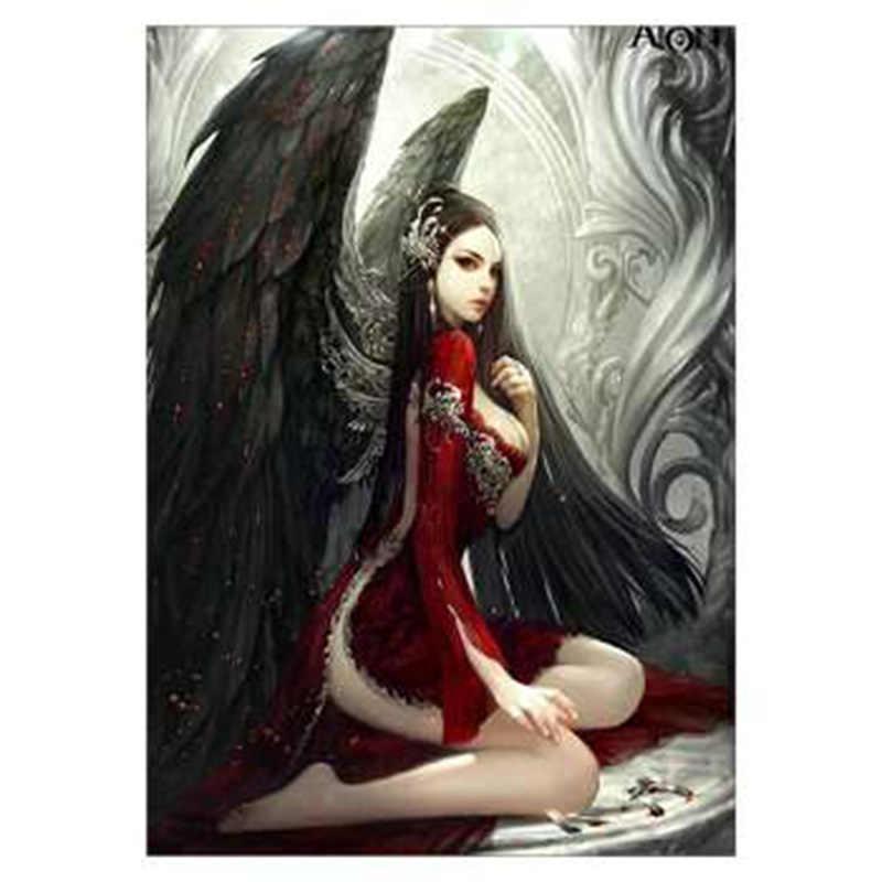 Painting Diamond Black Angel Red Girl Gothic Style Black Winds Diamond Painting Cross Stitch Full Pasting