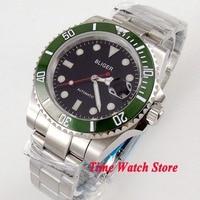 Luxury 40mm Bliger black dial sapphire glass super luminous green Ceramic Bezel Automatic movement men's watch 145