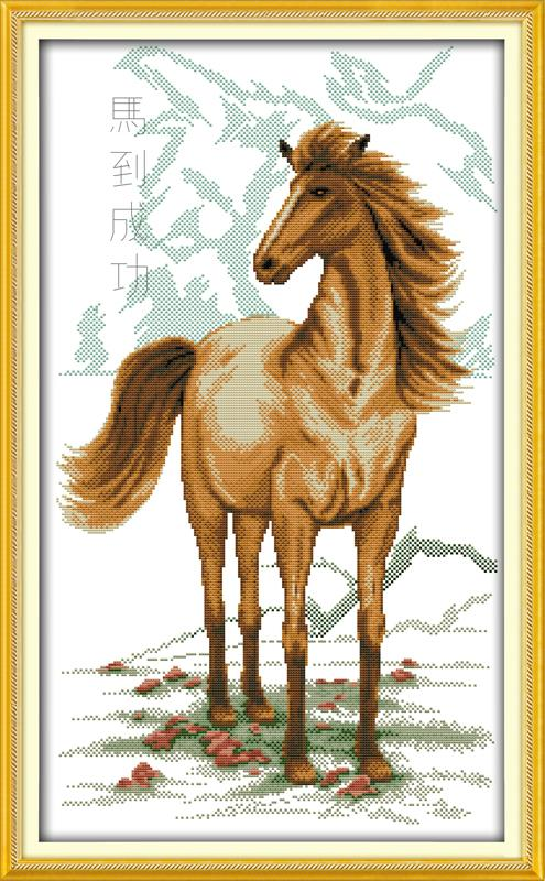 Cross Stitching Picture 11CT Horse bring success 10 DIY Needlework Dmc Cross Stitch Kits ...
