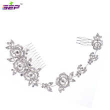 Rose Flower Rhinestone Long Hair Combs Hairpins Girl Hair Pin Head Jewelry for Women Bridal Wedding