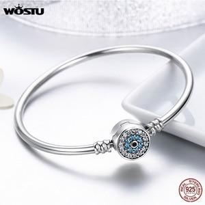 Image 4 - Wostu 100% 925 Sterling Zilver Armbanden Sneeuwvlok Blauwe Ogen Zirkoon Chain Fit Vrouwen Armband & Bangle Luxe Sieraden