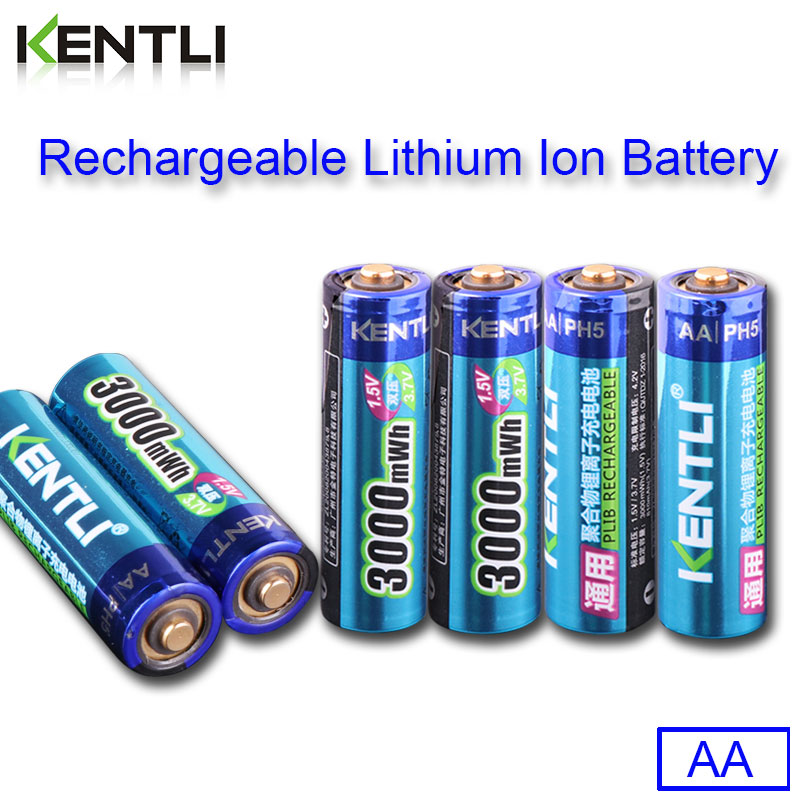 KENTLI 6pcs pack High Capacity free shipping lithium ion batteries 3000mWh 1 5V lithium polymer battery rechargeable AA battery in Replacement Batteries from Consumer Electronics