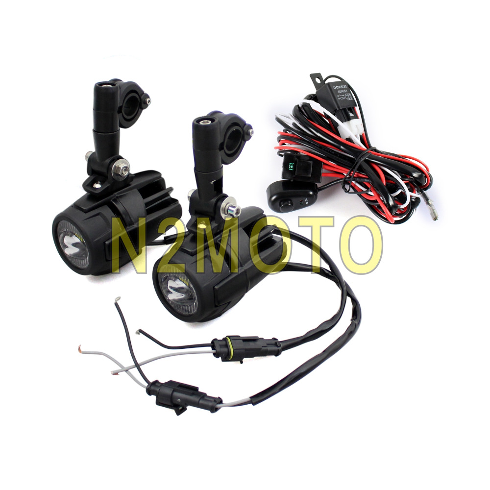for bmw r1200 gs motorcycle led spotlight headlight grill guard driving fog light wiring harness kit [ 1000 x 1000 Pixel ]