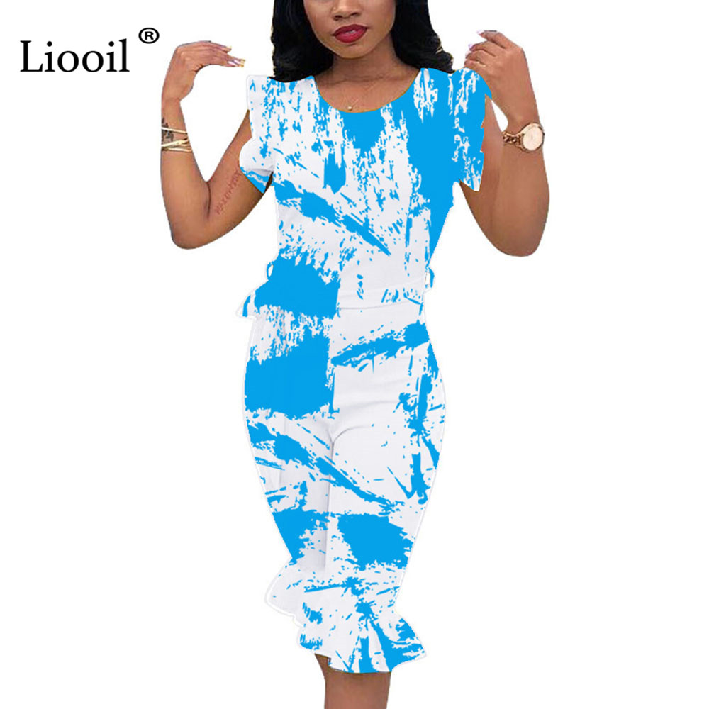 Liooil Sexy Club Blue Printed Ruffle Rompers Womens Jumpsuit Zipper O Neck Party Plus Size Jumpsuits Calf-Length Pants Overalls