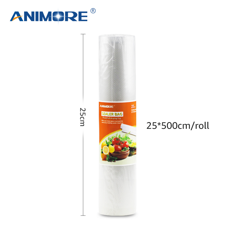 ANIMORE Household 25cm x 500cm 1 Roll Vacuum Food Bag for Kitchen Vacuum Plastic Storage Bags Food Fresh Long Keeping Saran Wrap цена