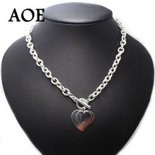 2019 New Big Brand Fashion Jewelry Silver Plated Two Heart Pendant Necklaces For Women Girls Big Thick Chain Short Necklace Gift(China)