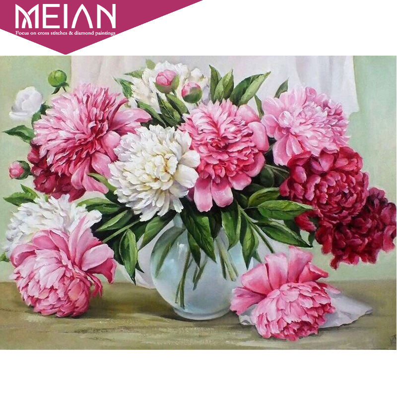 Meian DIY 5D Diamond Mosaic Pink flowers 5D Full Diamond Painting Cross Stitch Kits Square Diamond Embroidery Home DecorationMeian DIY 5D Diamond Mosaic Pink flowers 5D Full Diamond Painting Cross Stitch Kits Square Diamond Embroidery Home Decoration