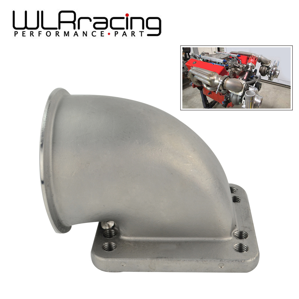 WLR 3.0 Vband 90 Degree Cast Turbo Elbow Adapter Flange 304 Stainless Steel For T3 T4 Turbocharger WLR TEA30