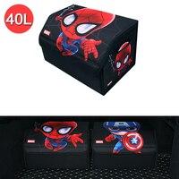 Cartoon Car Trunk Organizer Box The Avengers Marvel Style Storage Bag Auto Tool Bag Folding Large Cargo Storage Stowing Tidying