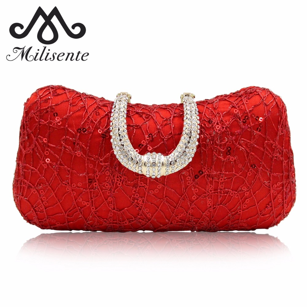Milisente Women Clutch Bag Red Evening Bags Wedding Clutches Lady Party Purse With Chain milisente beaded embroidery tassel bags women party bag small evening clutches lady wedding clutch chain