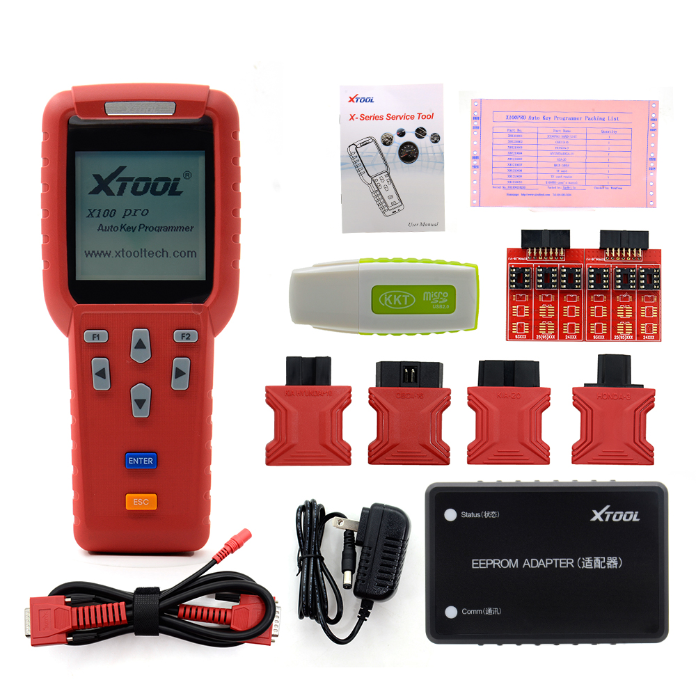 Prix pour Xtool d'origine x100 pro avec eeprom adaptateur auto clé programmeur kilométrage réglage/odomètre mise à jour gratuite en ligne vie