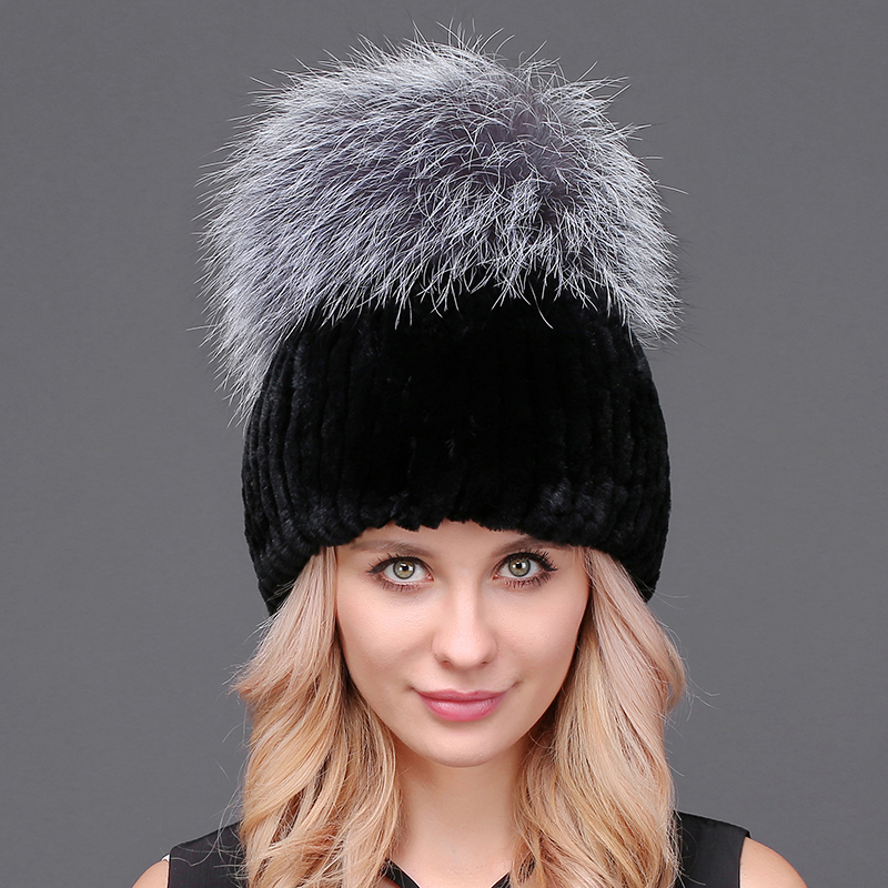 Thicker Winter Rex Rabbit Fur Hat For Women With Fox Fur Pom Poms Knitted Beanies  Fur Hats High Quality Caps Feminine new star spring cotton baby hat for 6 months 2 years with fluffy raccoon fox fur pom poms touca kids caps for boys and girls