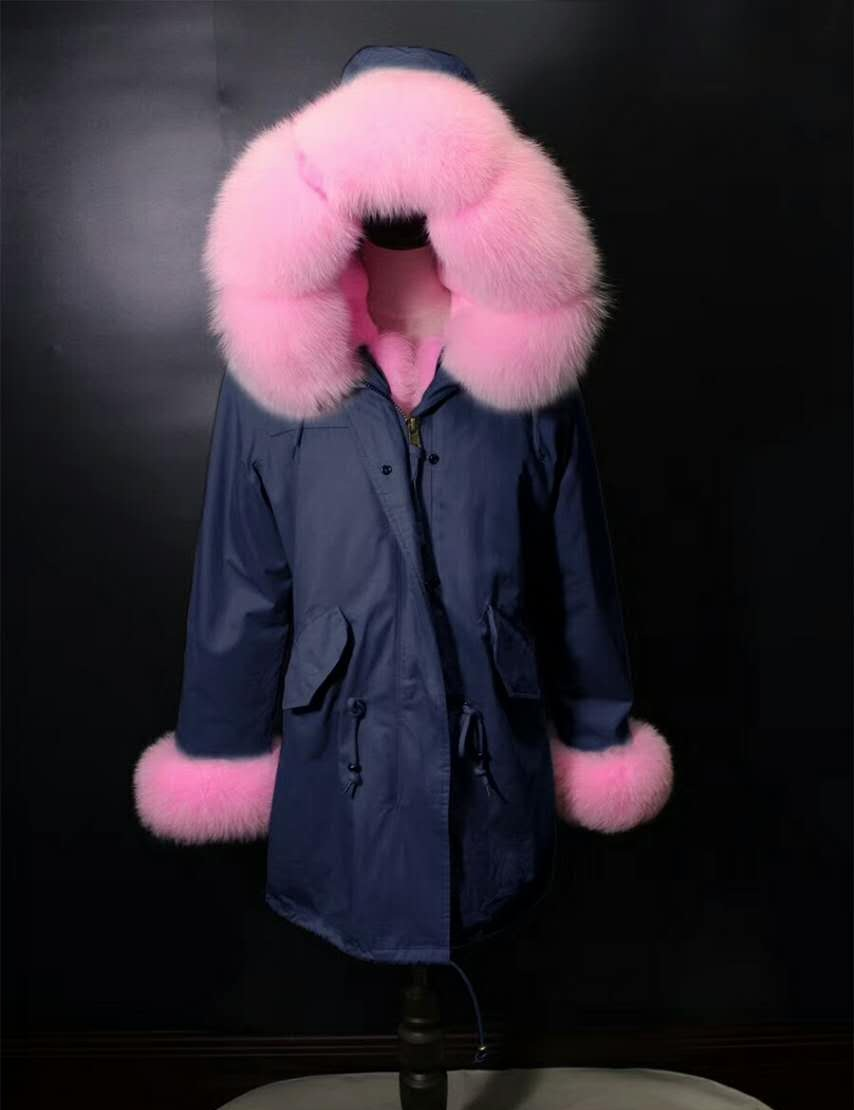 2017 winter new women's fashion fox fur collar pink rex rabbit  lining coat nick garment 2017 winter new clothes to overcome the coat of women in the long reed rabbit hair fur fur coat fox raccoon fur collar