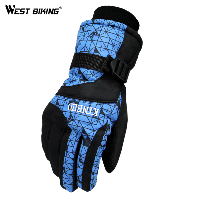 WEST BIKING Winter Warm Ski Gloves Warm Breathable Slip Resistant Cold Winter Riding Gloves Cotton Flannel Bicycle Gloves