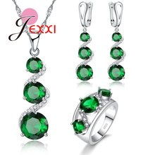 Latest Bridal Wedding Jewelry Set Real S90 and Special Green Cubic Zircon Stone Necklace Earrings Ring Set(China)