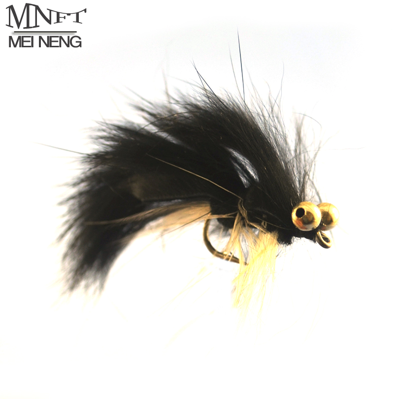 MNFT 10 PCS #6 White Belly Black Body Have Eyes Streamer Fly Baitfish Imitator Trout Fishing Flies Artificial bait mnft 10pcs 6 brown color deer hair gold body muddler minnow fly bass fishing lure steamers trout streamer flies