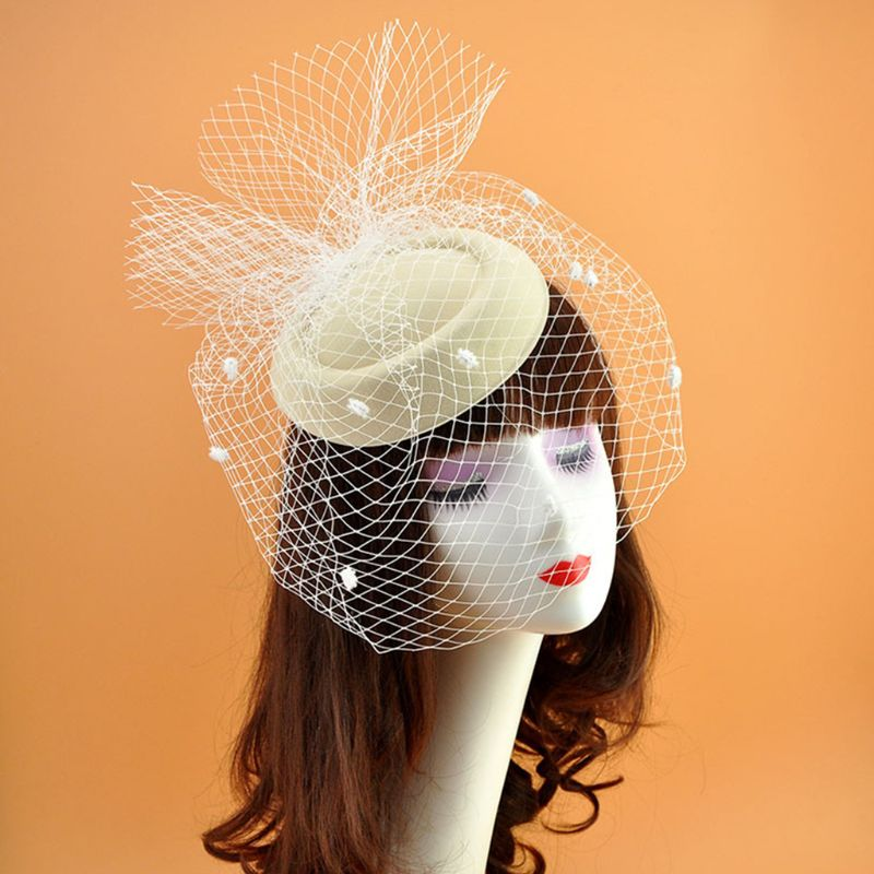 Womens Felt Hat Topper Mesh Fishnet Veil Small Plush Wave Point Decor Hair Clips Wedding Bridal Cocktail Headwear Hair Accessory