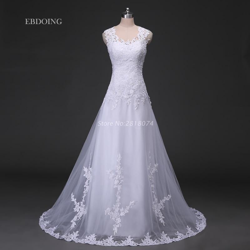 Vestidos De Novia Wedding Dress 2017 White A-line Scoop Neckline Robe De Mariage Wedding Gowns With Lace Appliques Beaded
