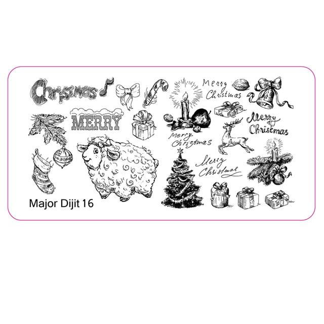 Frohe Weihnachten Schablone.Us 1 55 Frohe Weihnachten Geschenk Nail Art Stamping Schablone Warme Schafe Kerze Glocke Nagellack Stempel Manikure Platte Werkzeug 6 12 Cm Dijit 16