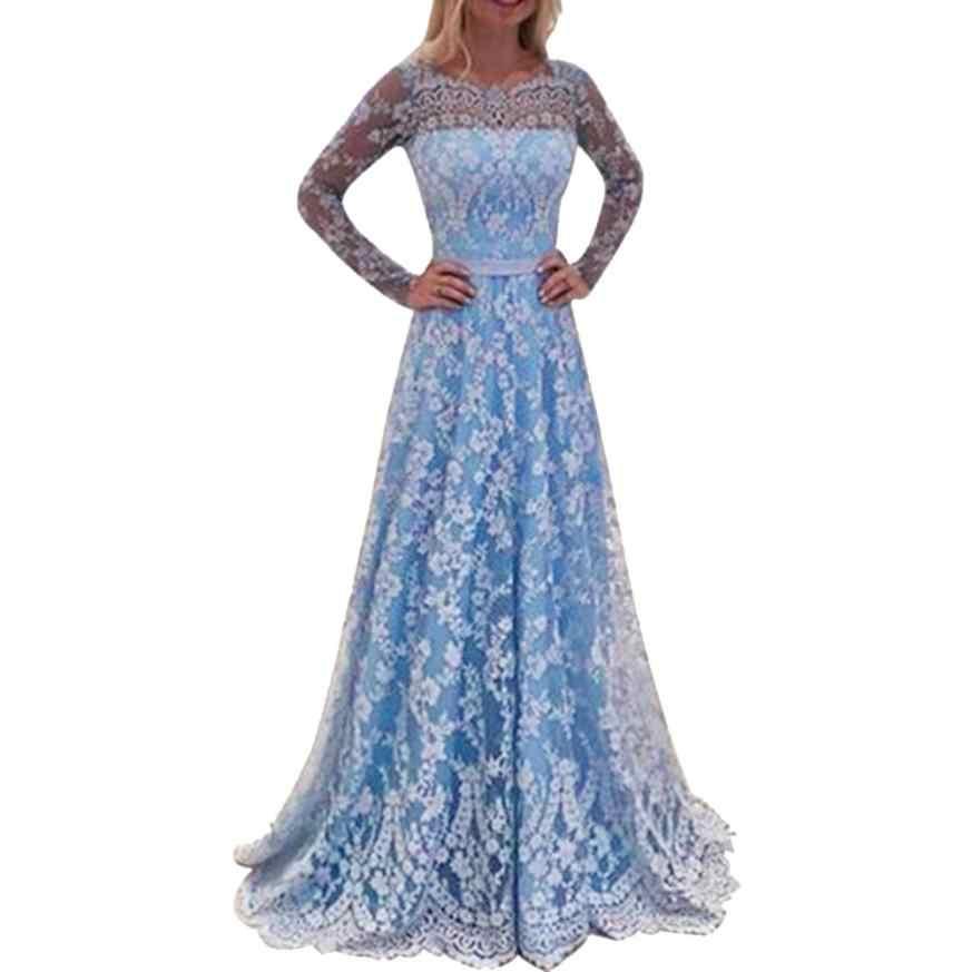 KANCOOLD שמלת נשים תחרה ארוך שרוול סקסי ללא משענת שמלות ארוך ערב המפלגה כדור נשף שמלת שמלת נשים 2018AUG9