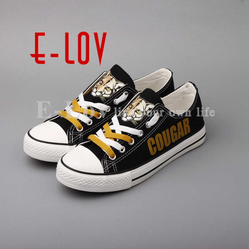 E-LOV 2018 Custom Design Canvas Shoes Cougar Pride High School Black Shoes Low Top Lace Shoes Drop Shipping e lov women casual walking shoes graffiti aries horoscope canvas shoe low top flat oxford shoes for couples lovers