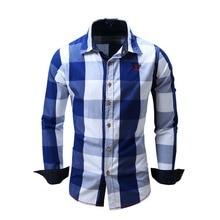 2017  New Fashion High Quality Casual Long Sleeve Slim Men's Plaid Shirts Male Clothing Fit  Shirts Business Formal Shirt DZ009