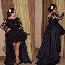 7b2d212eca 2019 czarny wysoki niski suknia ślubna Custom Made Plus rozmiar krótki  przód długi powrót iluzja koronki