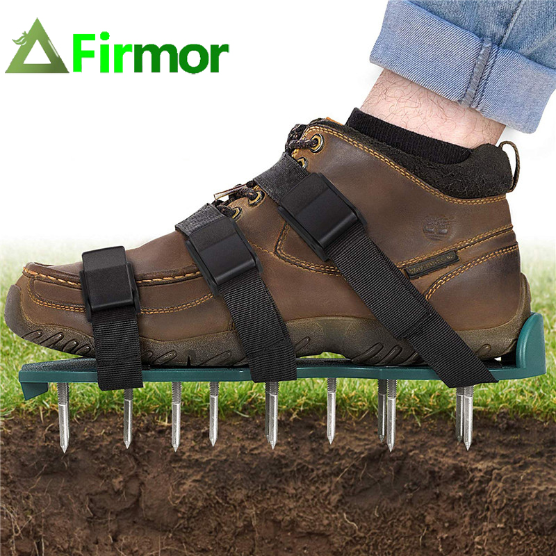 FIRMOR Lawn Aerator Shoes 26 Spikes Aerating Lawn Soil Garden Yard Care Sturdy Universal Size Garden Tools Manual Aerators   - title=