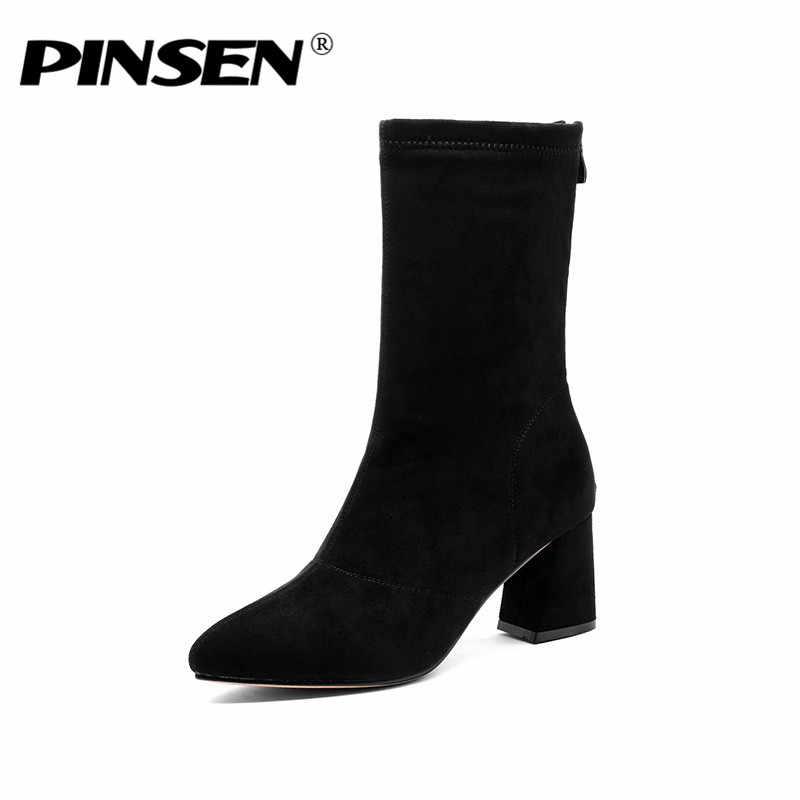 PINSEN 2019 Moda Kış Kadın Çizmeler Yüksek Kaliteli Rahat Ayak Bileği Kar Botları Kadın Sıcak Tutmak Klasik Topuk Botas Mujer
