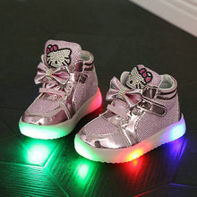 2017 New Children Cartoon KT LED shoes Kids breathable sports shoes girls flashing fashion glowing sneakers 21~36