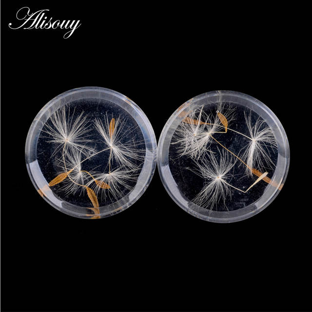 Alisouy White 1 Pair Dandelion Acrylic Ear Plug Gauge Expander Stretcher  Flesh Tunnel Piercing Body Jewelry 10-25mm