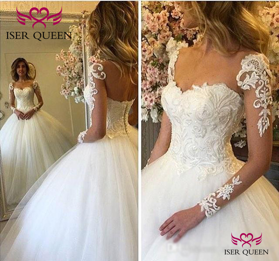 Princess Stylish Sweetheart Neckline Ball Gown 2019 Spanish See-through Long Sleeves Backless Tiered Sheer Wedding Dresses W0353