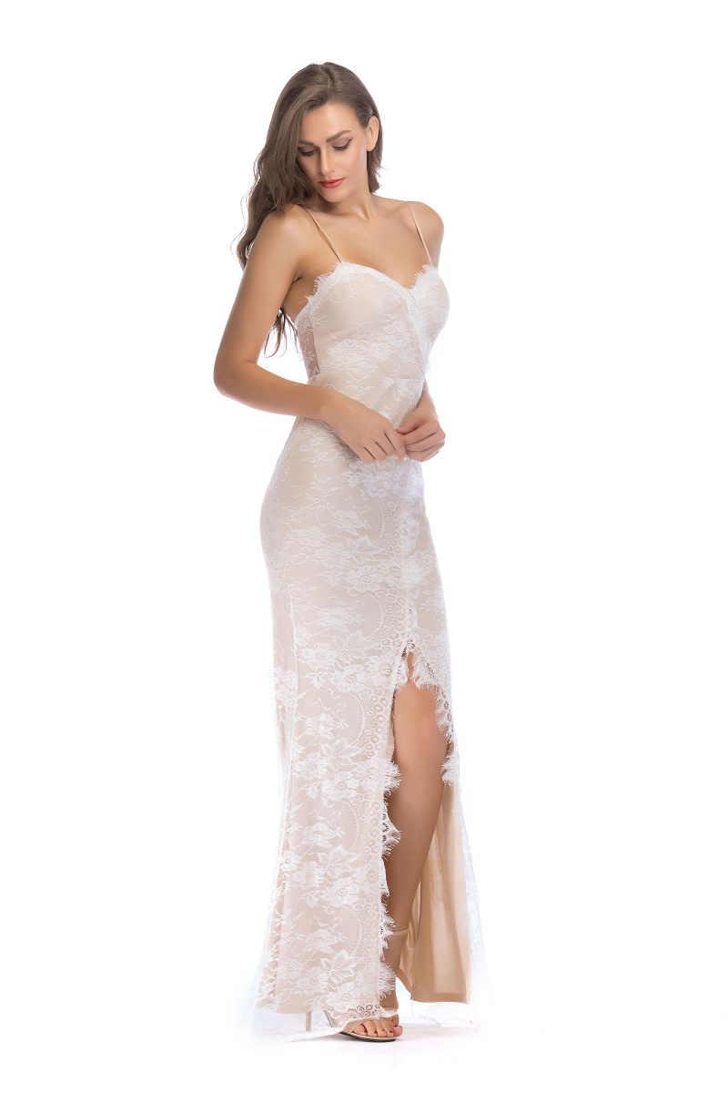 Sexy Vrouwen Lace maxi zomerjurk befree Backless vestido Spaghetti Band Luxe Wit Nachtclub Queen party Lange jurken 2018