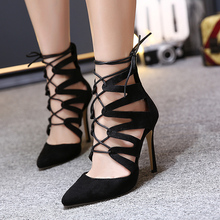 Autumn Shoes Women High Heel Woman Pumps 2016 European Pointed Cross Tie Gladiator Lace Up Ladies Shoes Women Party Shoes Black