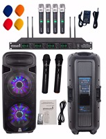 STARAUDIO Dual 15 Powered 4500W Active LED Light USB SD FM BT Speaker W/ 4CH UHF Mics 2 Wireless Microphones SDM 15RGB