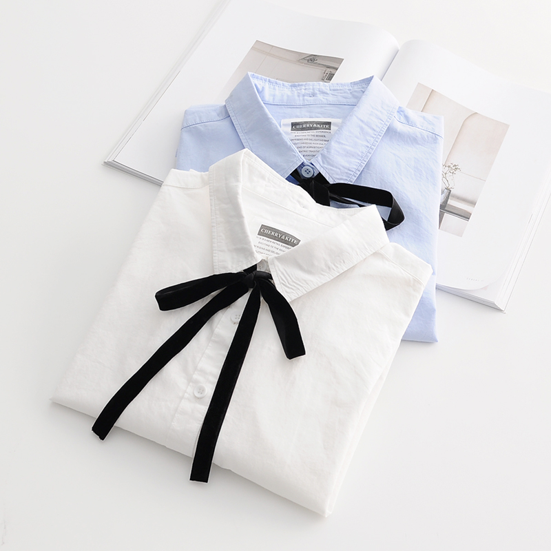 Weyes & Kelf Casual Black Bow Tie Blouse For Girl 2018 Long Sleeve Cotton White Shirt Women Solid Blue Shirt Women Lace Up Top