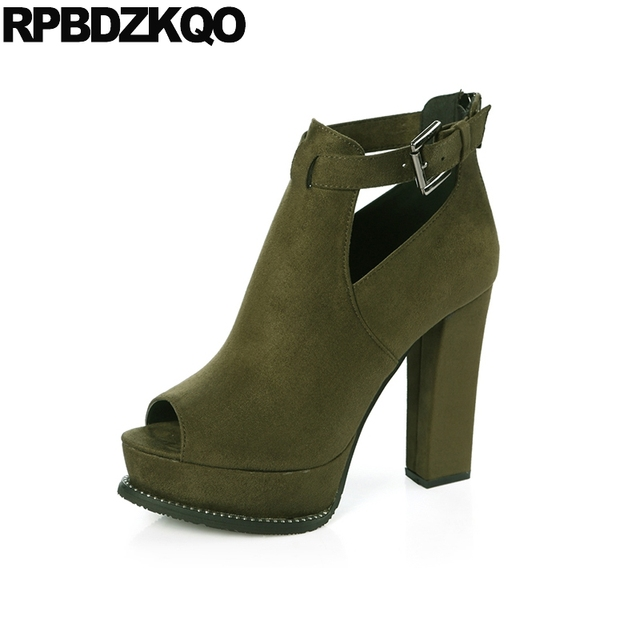 Shoes Runway High Heels Thick Super Pumps Summer Suede Peep Toe Fashion Size  4 34 Women Round 12cm 5 Inch Black Sexy Ankle Boots de2c08588020