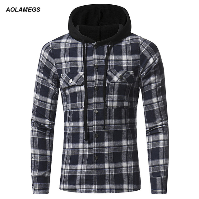 5ea3bfa290f Aolamegs Men Plaid Shirts Long Sleeve Flannel Hooded Shirt High Quality  Casual Fashion Slim Fit Plus