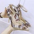 Señoras Zapatos de Tacón Alto 2017 de La Moda Bling Flores Glitter Zapatos de Dedo Del Pie Puntiagudo Sexy Mujer Bombas zapatos de Boda Zapatos de Novia zapatos de Tacones Altos
