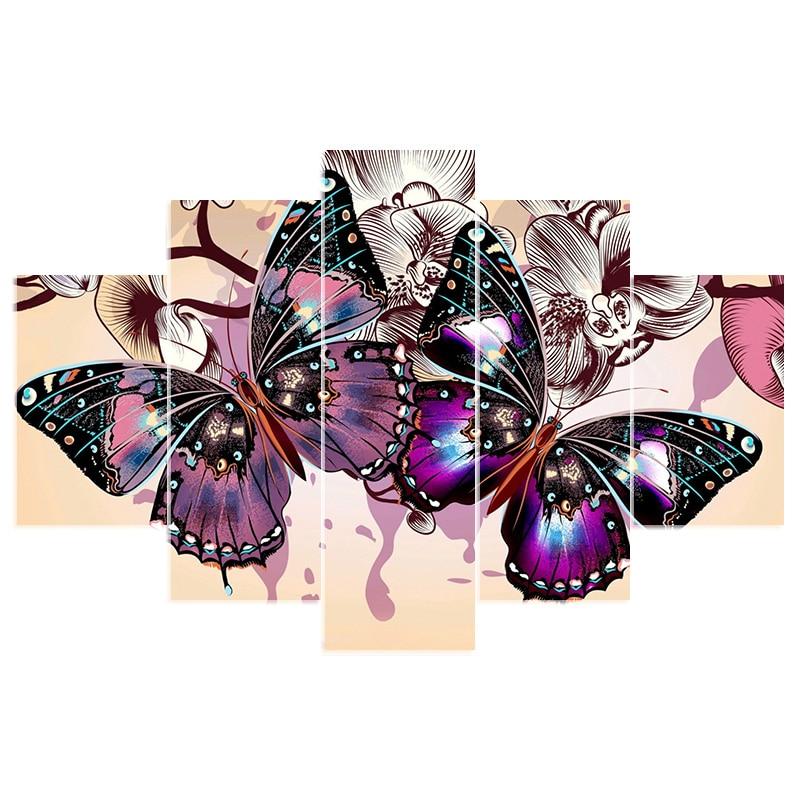 Handmade Needlework Diy Diamond Painting Butterfly Kit Diamond Embroidery Full Rhinestone Cross Stitch 5 Pcs Sets