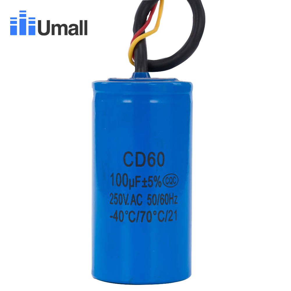 US $13 6 |CD60 100UF 250V AC Starting Capacitor For Heavy Duty Electric  Motor Air Compressor Red Yellow Two Wires-in AC Motor from Home Improvement  on