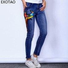 EXOTAO Phoenix Embroidery Jeans Women Autumn Winter Mid-Waist Denim Pencil Pants Skinny Casual Stretchable Blue Pantalon Femme
