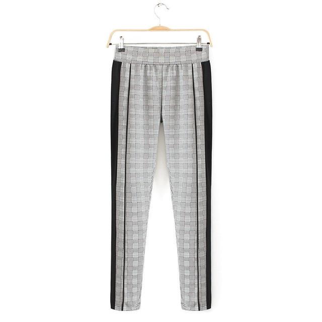 Calças das mulheres 2016 Outono Inverno da American Apparel Moda Xadrez Preto e Branco Bloco de Cor Cintura Elástica Calças pantalon femme