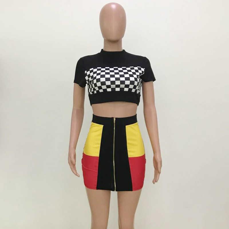 Сексуальный комплект из двух предметов, Женская мини-юбка, укороченный топ, клетчатая футболка, шахматный костюм для отдыха, наряды для отдыха, Клубная уличная одежда